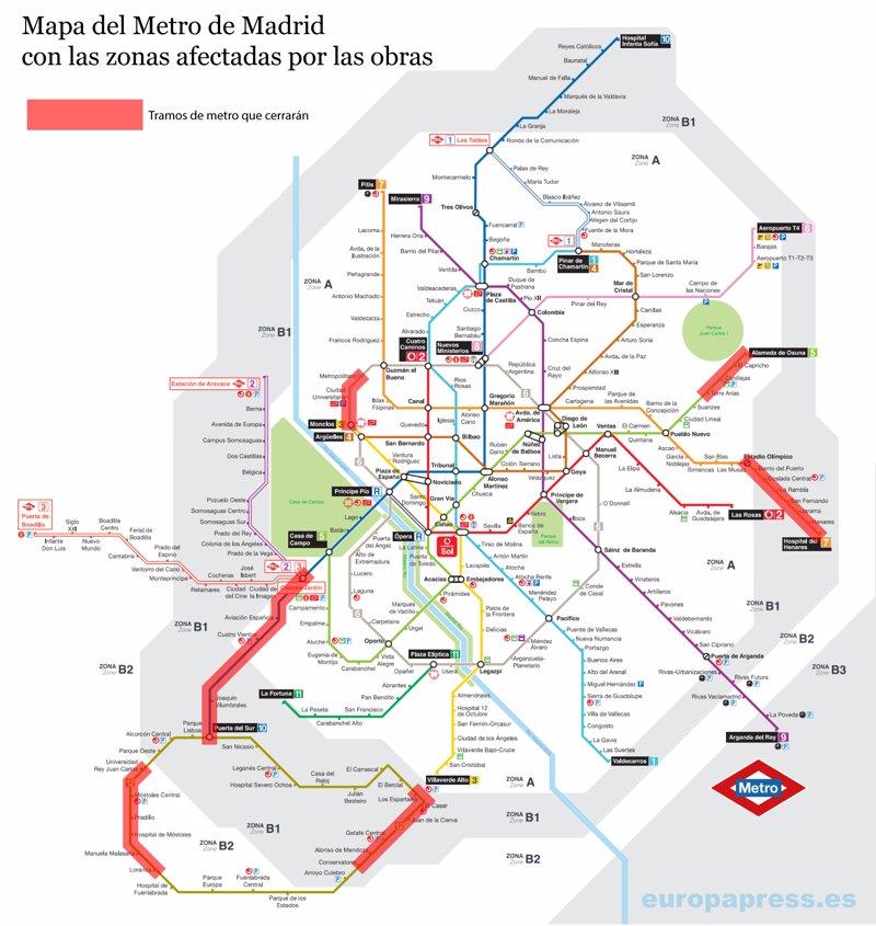 Mapa para escapar de las obras del Metro de Madrid este verano