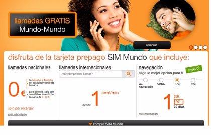 Economía.- Orange permite a clientes de la tarjeta 'Mundo' hablar gratis entre sí y desde 0,01 euros con el extranjero