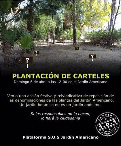 Convocatoria ciudadana este domingo en el Jardín Americano para reponer su cartelería informativa