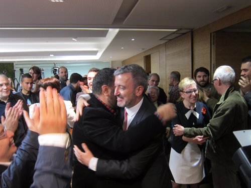 Jaume Collboni y Carmen Andrés tras las primarias 2014 del PSC Barcelona
