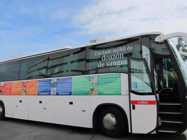 Unidad Móvil Del CTG Para Donación De Sangre En Galicia.