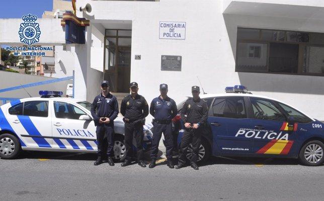 Policías españoles y portugueses patrullan en Torremolinos y Benalmádena