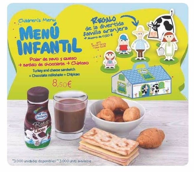 Menú infantil central lechera asturiana en Iberia