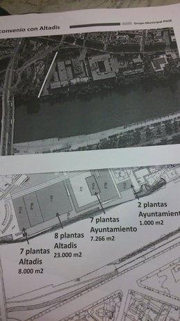 Plano mostrado por el PSOE.
