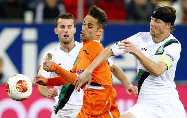 Jonas, del Valencia, en un partido de Europa League