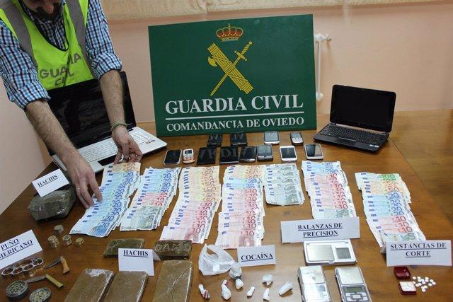 Trafico de drogas, Guardia Civil Oviedo