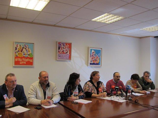 Rueda de prensa de CIG, CC.OO y UGT sobre el código ético de la Xunta