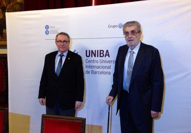 El rector de la UB, Dídac Ramírez, y el pte. De Grupo Planeta, José Manuel Lara
