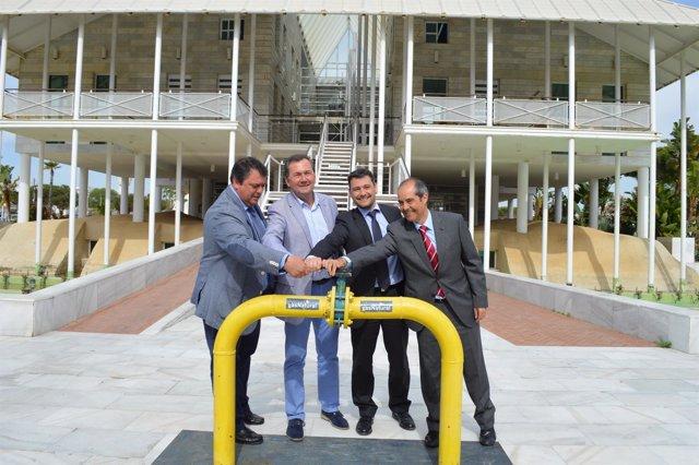 Dirigentes de Gas Natural en Andalucía, junto a Eduardo Muñoz y Gonzalo Rguez.