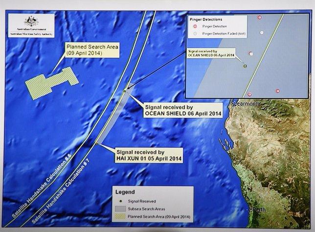 Gráfico sobre el lugar actual en el que se desarrolla la búsqueda del MH370