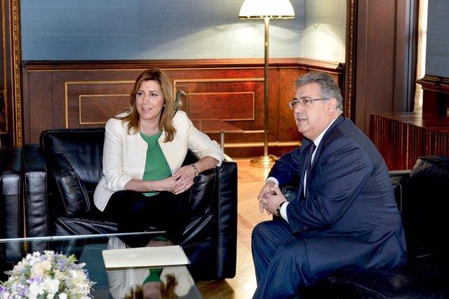 Susana Díaz y Juan Ignacio Zoido durante el encuentro
