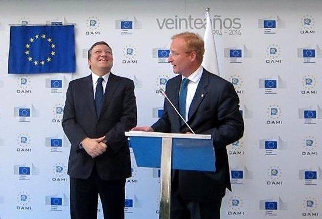 Durao Barroso con el presidente de la OAMI Antonio Campinos