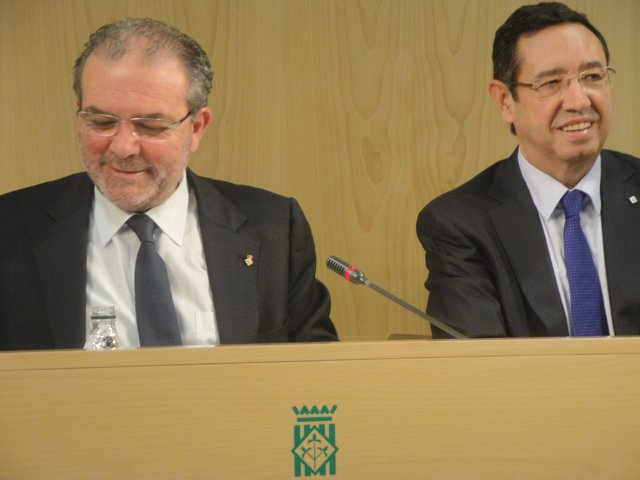 El presidente de la Diputación J.Reñé y el delegado de la Generalitat R.Farré