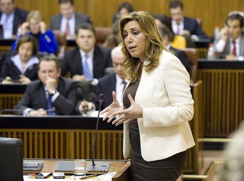 Susana Díaz, en el Pleno del Parlamento