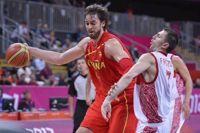 Pau Gasol (España) ante Rusia  Juegos Olímpicos