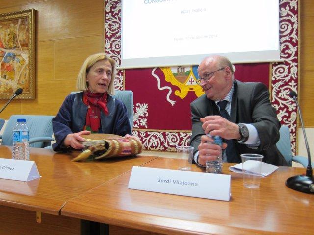 La decana de la facultad de Políticas de la USC, junto a Jordi Vilajoana