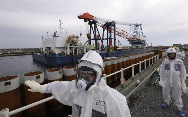 Empleados de TEPCO frente a la barrera de la costa de los reactores