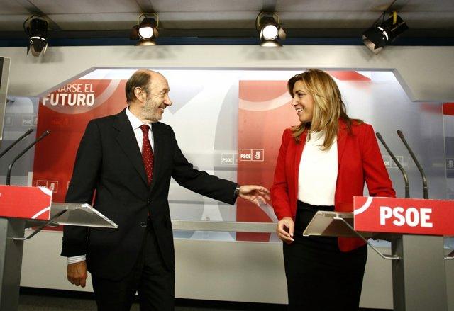 Alfredo Pérez Rubalcaba y Susana Díaz (Archivo)