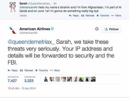 Una adolescente envía una falsa amenaza terrorista a American Airlines  y se hace viral