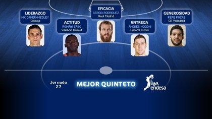 Caner-Medley, Sergio Rodríguez, Sato, Pozas y Nocioni, Mejor Quinteto de la jornada 27 de la Liga Endesa