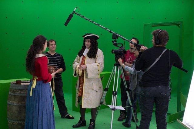 La actriz Alba Brunet y el actor Juano Puigcorbé durante el rodaje