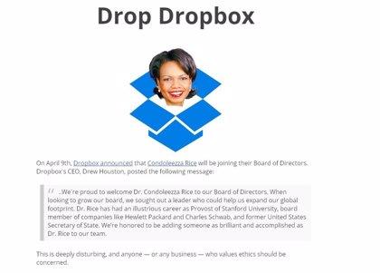 La incorporación de Condoleezza Rice a la junta directiva de Dropbox genera el rechazo de los usuarios