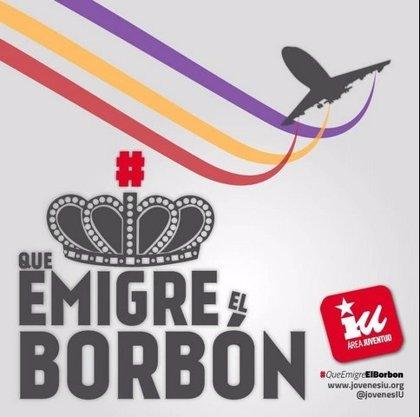 Jóvenes de IU lanzan la campaña #QueEmigreElBorbón como llamada contra la resignación al paro o el exilio juvenil
