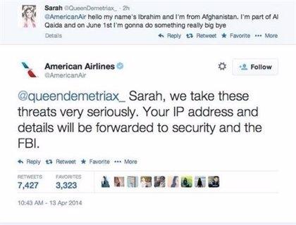 Imágenes de los tweets de la amenaza de 'American Airlines'