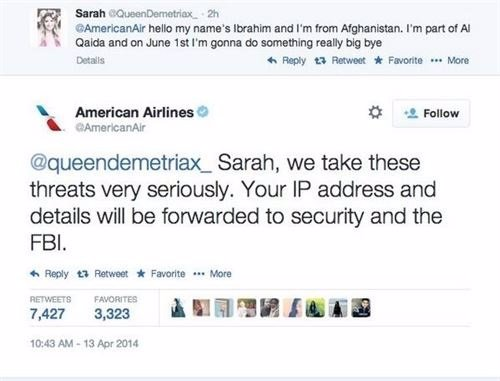 Contestación 'American Airlines' tras la amenaza de bomba
