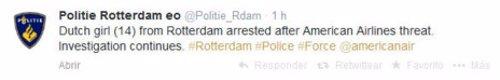 Tweet Policía de Rotterdam