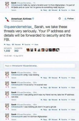 Intercambio de Tweets entre Sarah y American Airlines