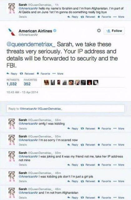 Imágenes de las falsa amenzada de atentado a American Airlines