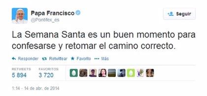 """Francisco invita en un 'tuit' a """"retomar el camino correcto"""" en Semana Santa"""