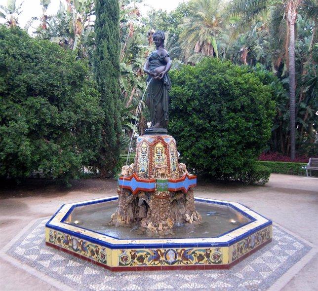 La fuente de la Ninfa del Cántaro en el Parque de Málaga