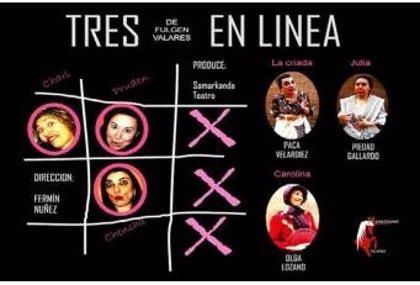 Samarkanda Teatro representa el martes la obra 'Tres en línea' en el Complejo Cultural 'Santa María' de Plasencia