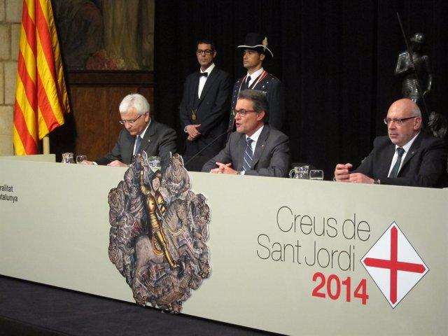 Entrega de las Creus de Sant Jordi con F.Mascarell, A.Mas y J.Baiget