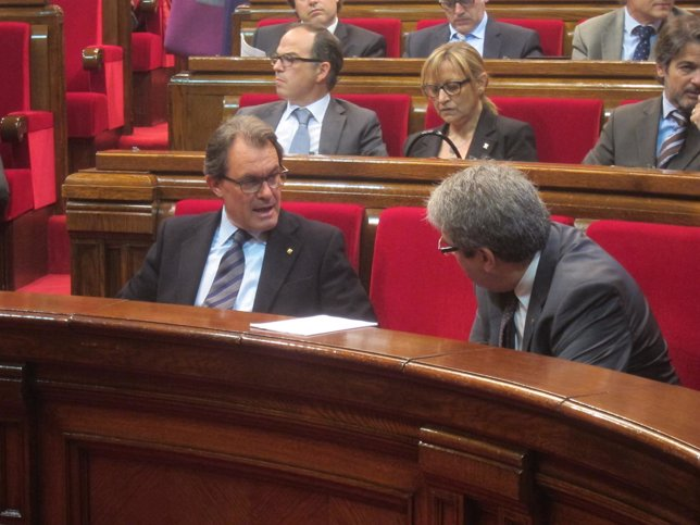 Artur Mas (pte.Generalitat) conseller Francesc Homs (portavoz Govern)