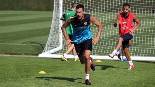 Sergio Busquets en un entrenamiento