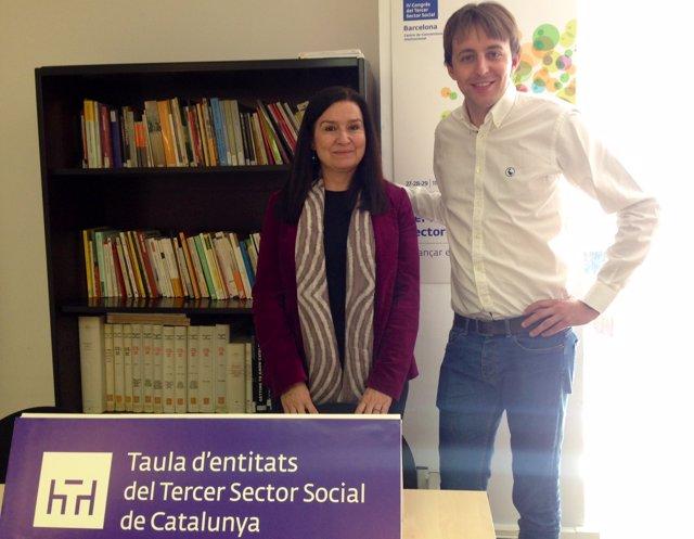La pta del Tercer Sector Social A.Guiteras y el candidato del PSC J.López