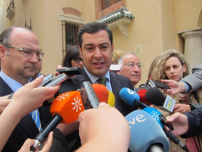 Moreno, en declaraciones a los medios en Almería