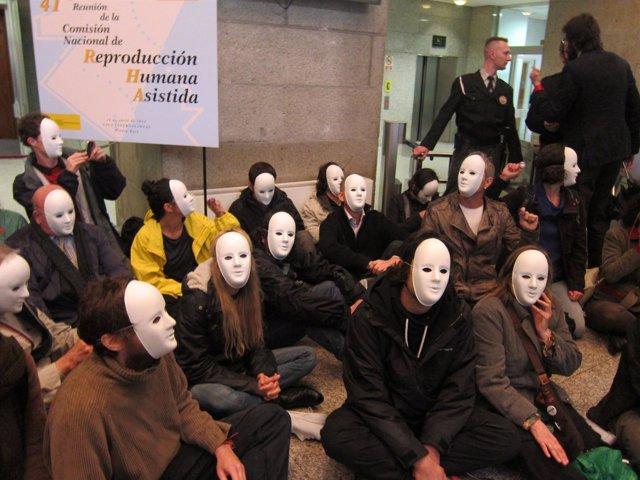 Protesta en el Ministerio de Sanidad