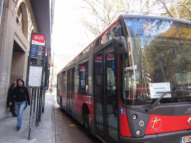 Autobús Cumple Servicios Mínimos Por Huelga General En Zaragoza. 29M