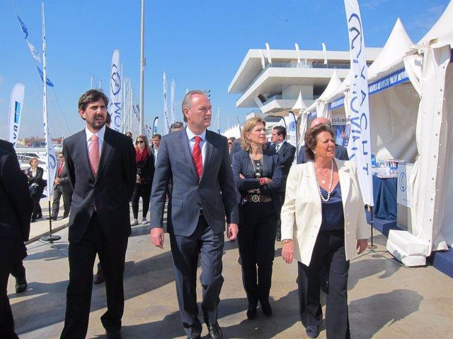 Fabra, Sánchez de León y Barberá en la inauguración de la Valencia Boat Show