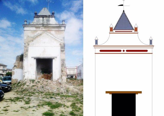 Montaje de la restauración de la torre.