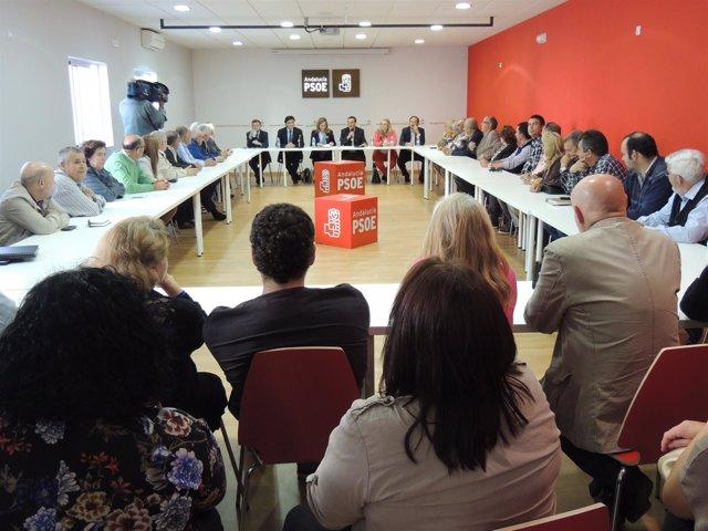 La consejera de Medio Ambiente, María Jesús Serrano, en el PSOE de Huelva.
