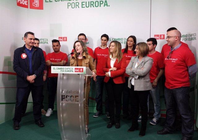 Cabezón en un acto del PSOE de Cádiz, junto a Irene García