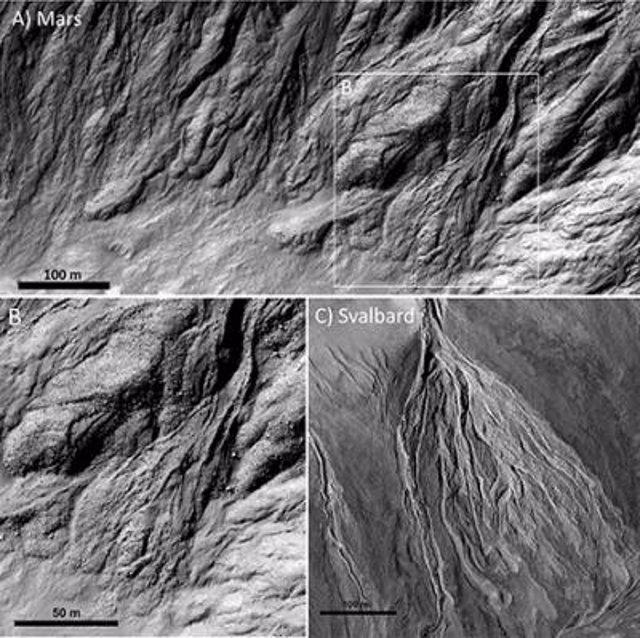 Flujos de escombros en Marte