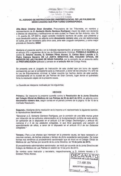 Denuncian por presunta prevaricación al presidente y otros 3 de la directiva del Colegio de Médicos de Las Palmas