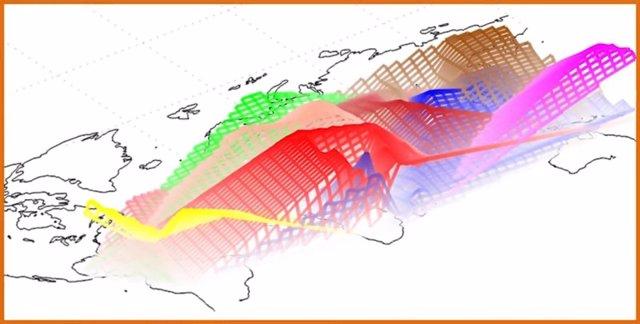 Mapa del mundo con las firmas genéticas humanas sobreimpresas