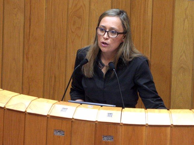 La conselleira de Facenda, Elena Muñoz, comparece en el pleno del Parlamento